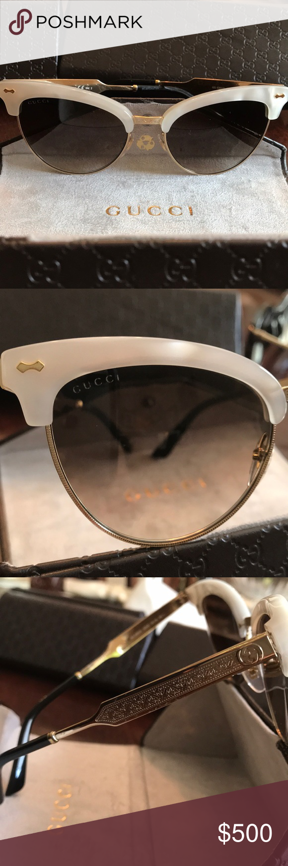 98c946a4f0f Gucci Sunglasses Gold Cat Eye Mother of Pearl Gucci Gg4283s New Damascato  Mother of Pearl Gold White Cat Eye ... GUCCI GG 4283 S Gucci Accessories ...
