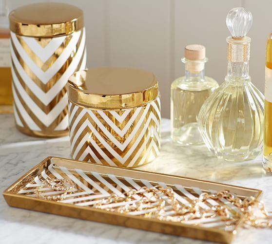 Gold Chevron Accessories Gold Bathroom Decor Gold Bathroom
