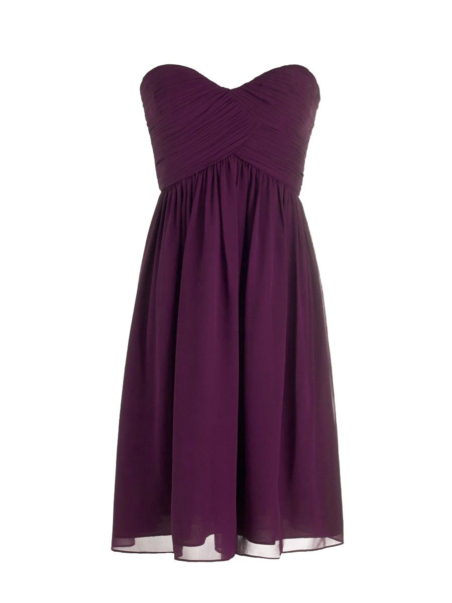 Pleated Sweetheart Dress; Color: Vintage Violet; Fabric: Chiffon ...
