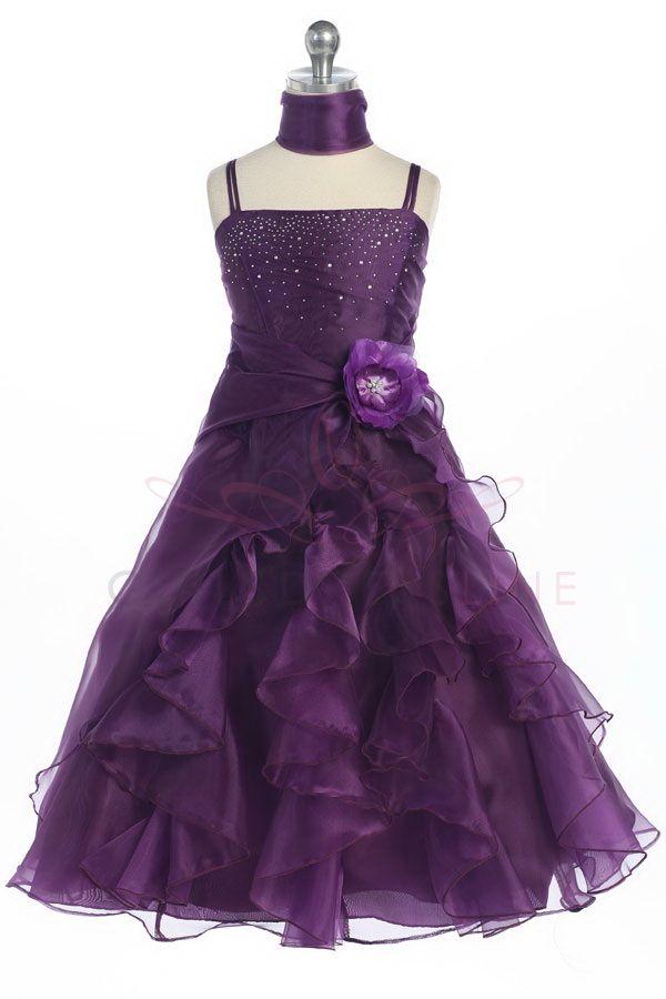 Plum Jeweled Bodice Ruffle Layered Organza Flower Girl Dress L4259PL ...