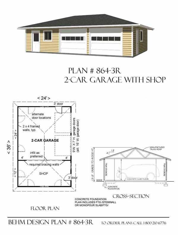 Hipped roof two car garage with shop plans 864 3r by for Hip roof garage plans