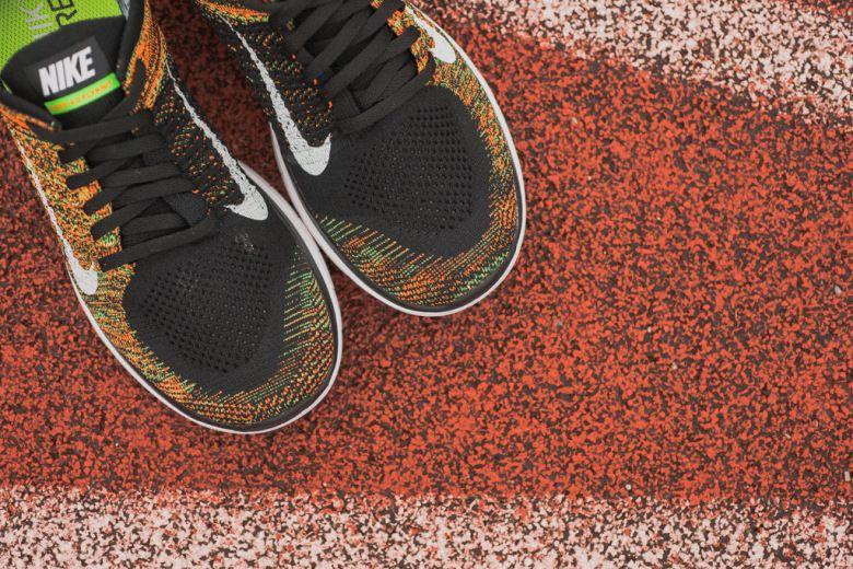 reputable site 1b059 62a66 Nike Free 4.0 Flyknit Poison Green Total Orange