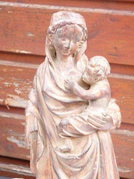 4ff9f035d1f Religious Statue Virgin Mary w Child - Moulage Musée du Louvre -  Reproduction - Religious Art - Fren