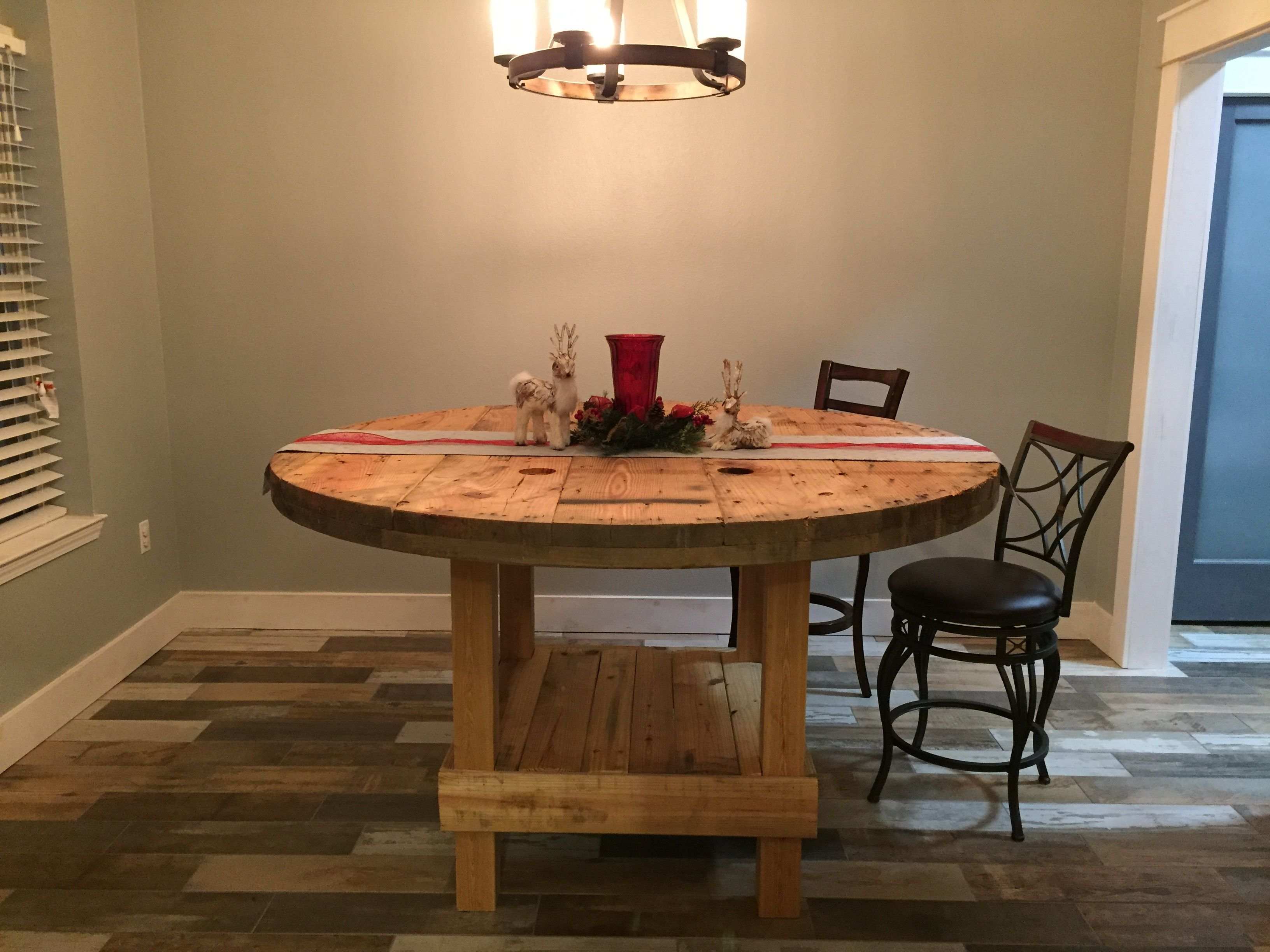 exciting cable spool kitchen table | My son and husband spent the day over Thanksgiving taking ...