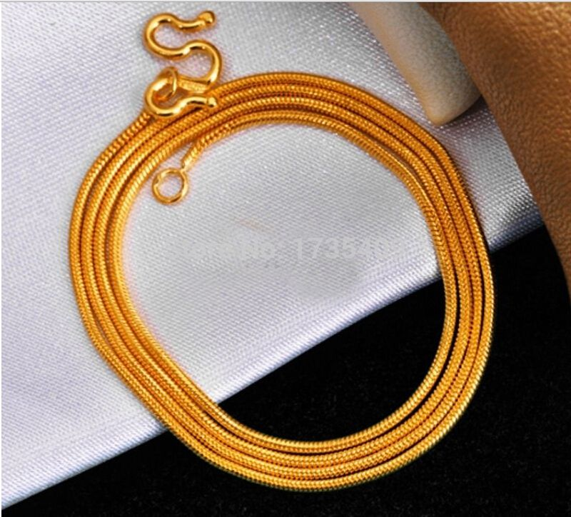 Solid 999 24K Yellow Gold Chain Unique Round Snake chain Necklace
