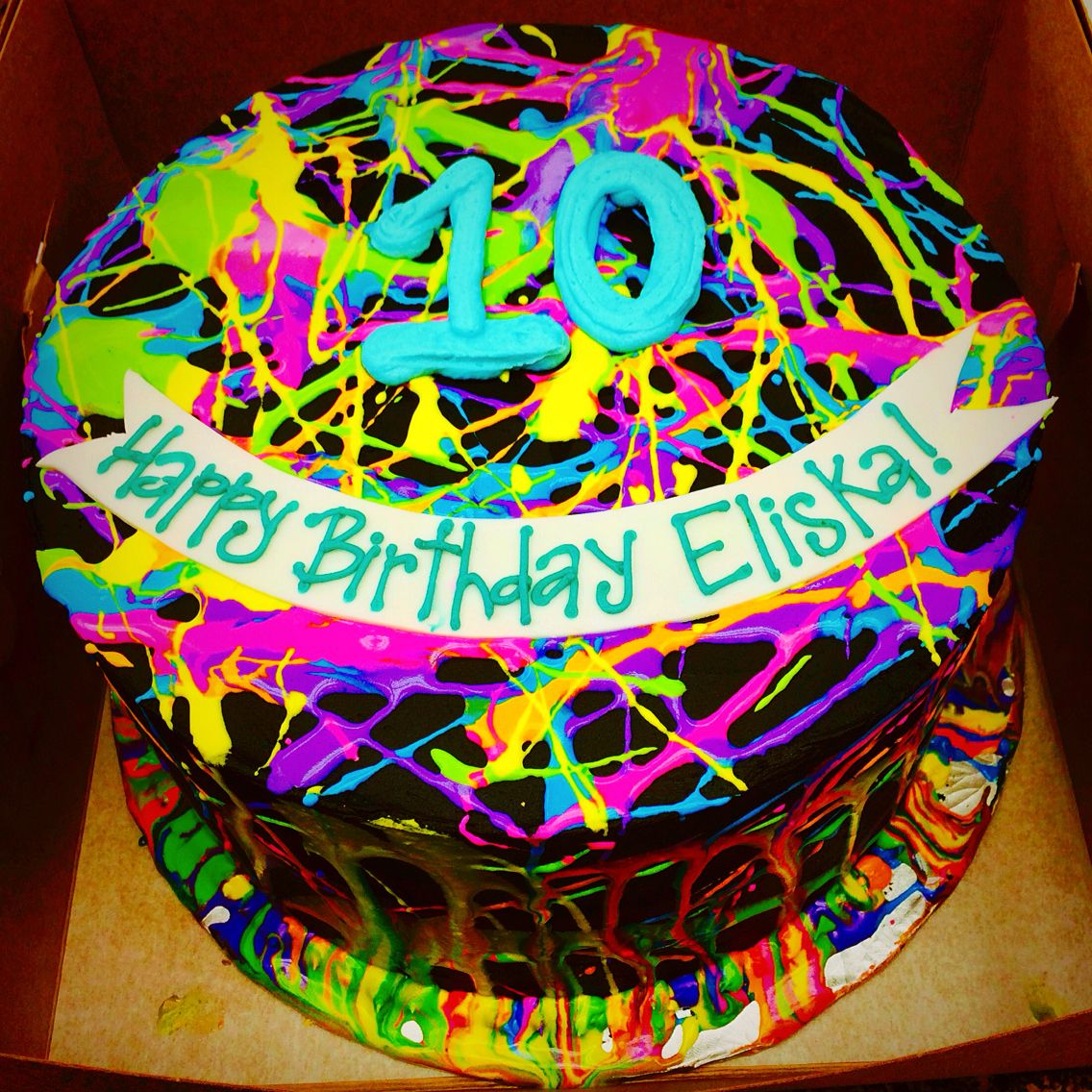Black Buttercream With Neon Paint Splattered Birthday Cake By Les