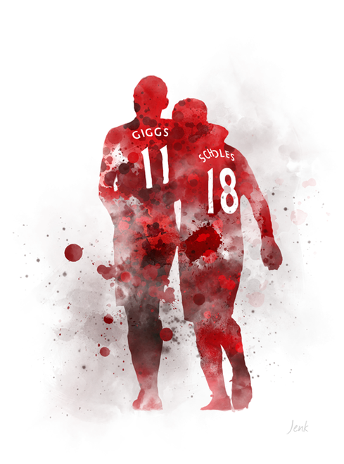 Ryan Giggs And Paul Scholes Art Print Manchester United Football Sport Gift Wall Art Home Decor Manchester United Art Ryan Giggs Manchester United Logo