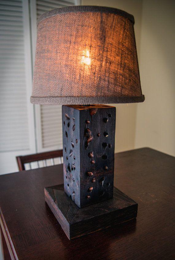 Rustic Wood Lamp Desk Lamp Shou Sugi Ban Derevenskie