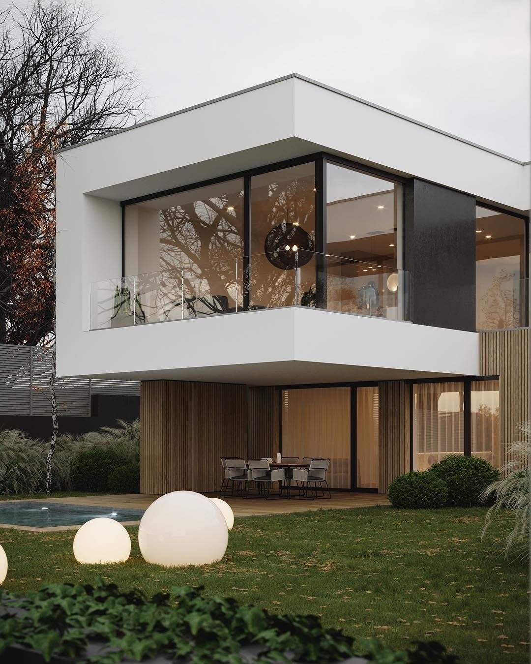 """DOPE DECORS on Instagram: """"Swipe left! What do you think? The Zahorska House is a home of simplicity and calmness where the combination of wood, white and dark…"""""""