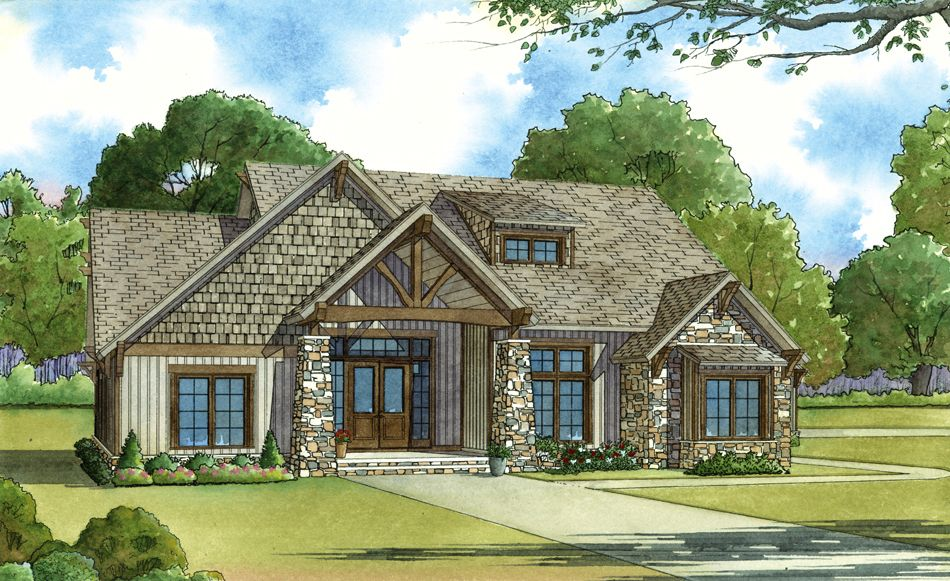Front Elevation Craftsman : Front elevation of craftsman home theplancollection