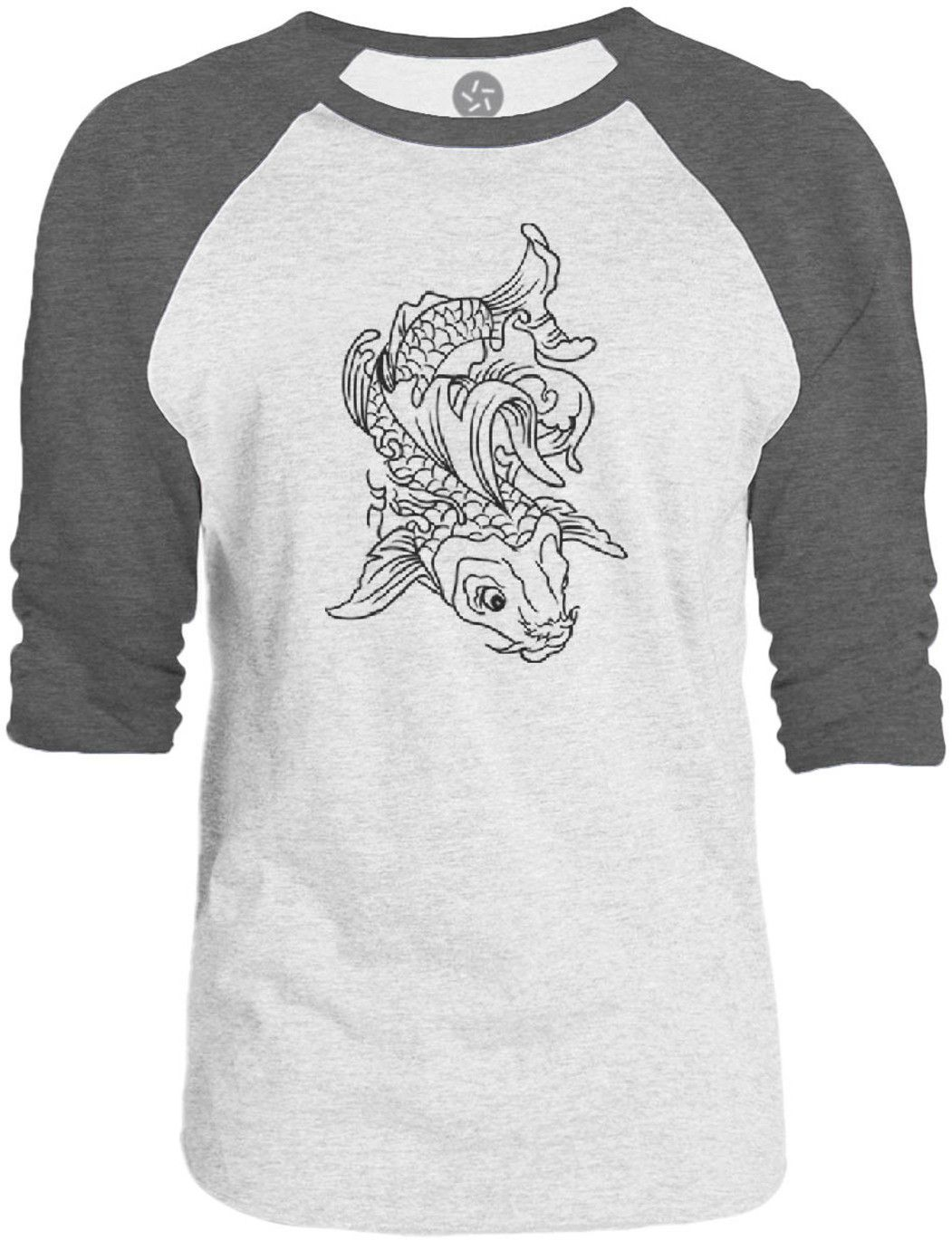 Big Texas Eastern Koi Tattoo (Black) 3/4-Sleeve Raglan Baseball T-Shirt