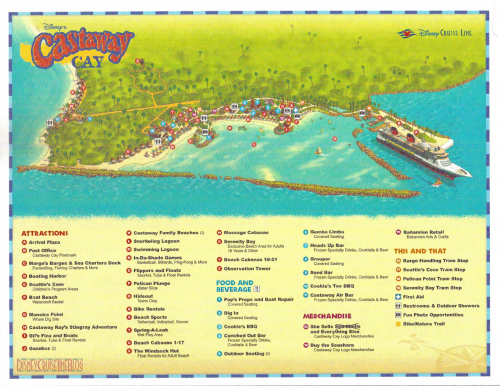 Castaway Cay Map • The Disney Cruise Line Blog. This site has great on