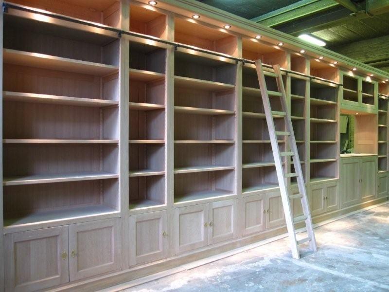 biblioth que en ch ne de 7m de long de mur mur et sol. Black Bedroom Furniture Sets. Home Design Ideas