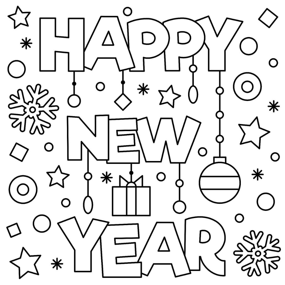 New Year & January Coloring Pages Printable Fun to Help Kids ...
