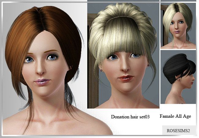 Two hairstyles by Rose  for Sims 3 - Sims Hairs - http://simshairs.com/two-hairstyles-by-rose/