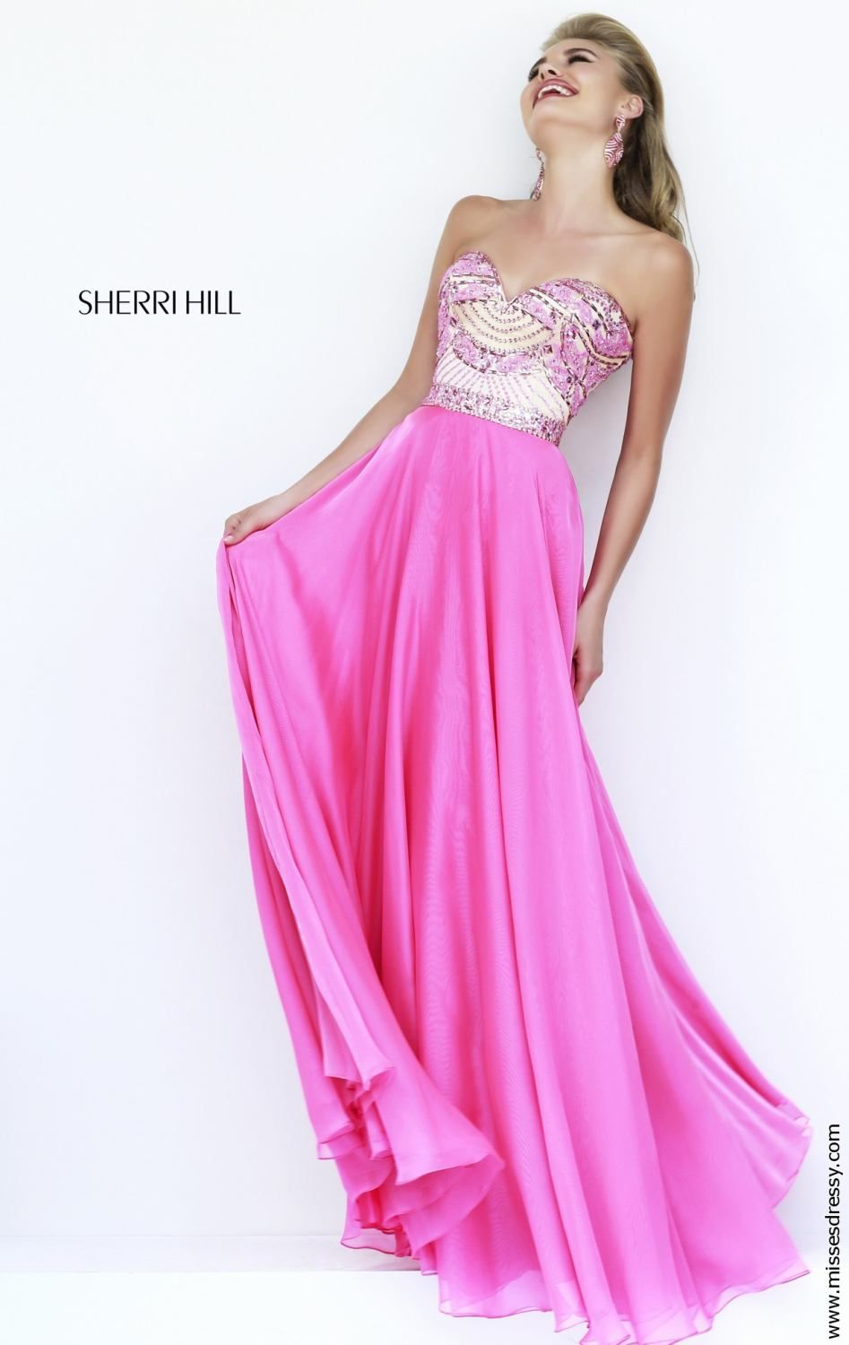 Strapless sweetheart long gown by sherri hill elegant styles