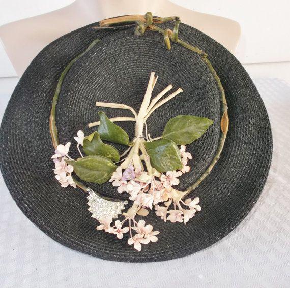 40s 50s Vintage Black Hat with Violet Flowers