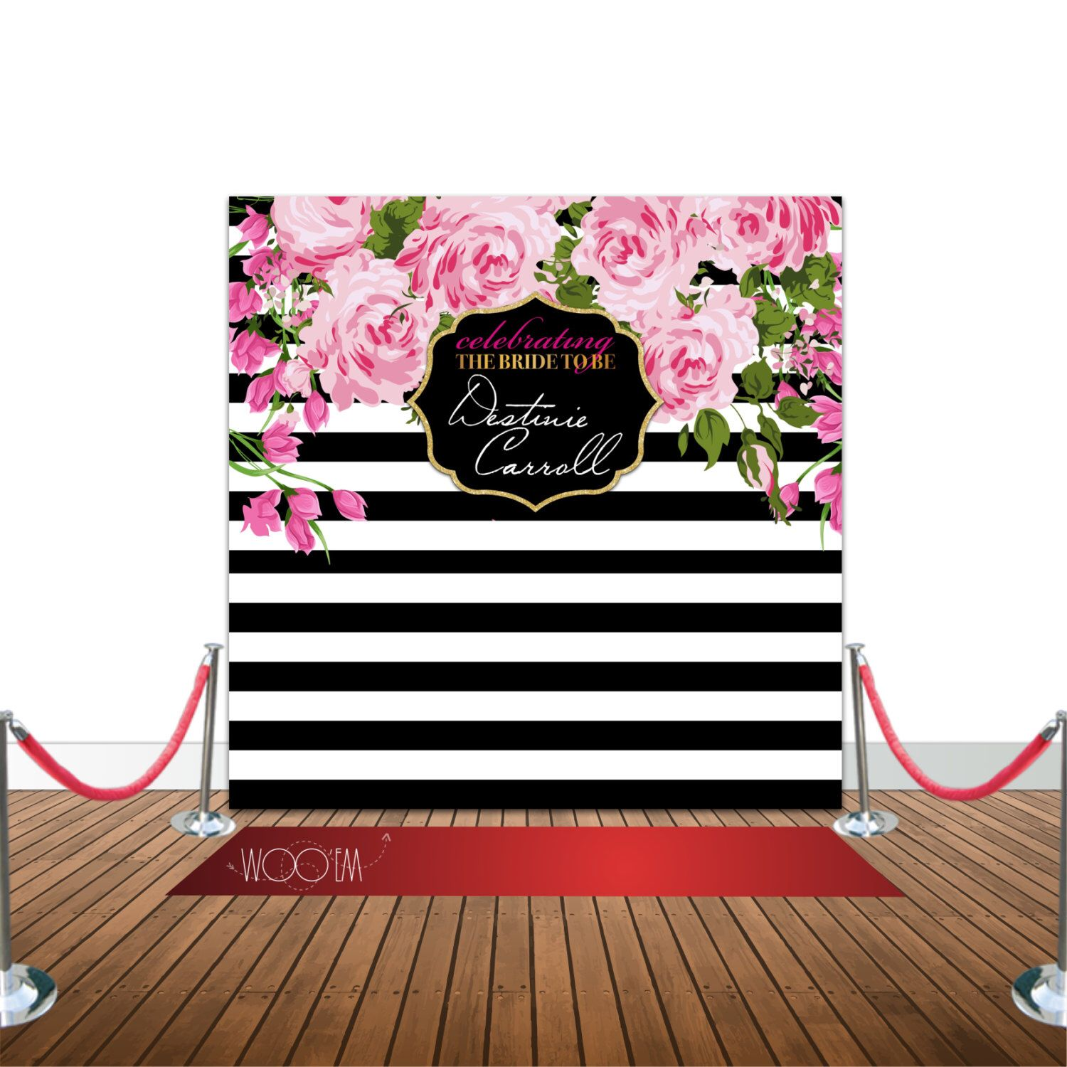 Stripes and Floral Bridal Shower or Sweet 16 8x8 Backdrop Step