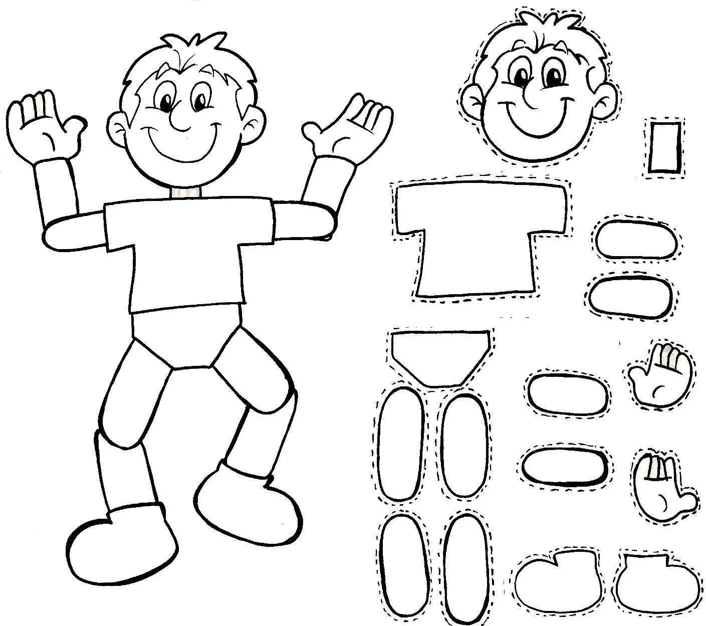 CUERPO HUMANO PARA ARMAR dibujo para colorear del cuerpo humano