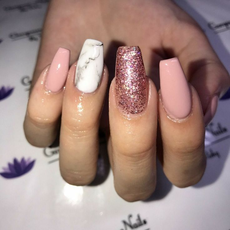 Tapered Square Nails. Pink Nails. Pink Glitter Nails. Marble Nails. Acrylic Nails.