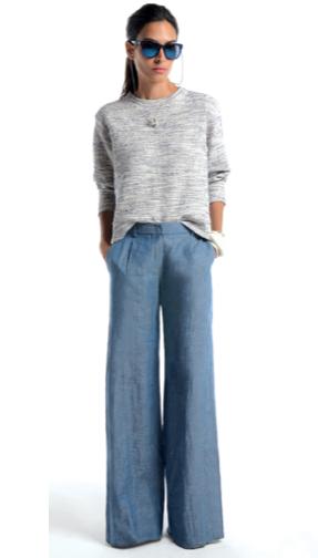 Look blue, calça pantalona, acho um charme.