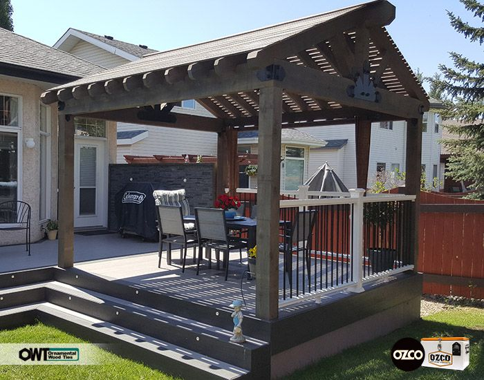 Great Looking Pavilion Pergola Combo On A Raised Deck Owt Hardware Is A Great Addition To This Project Week 8 Co Pergola Building A Pergola Pergola Designs