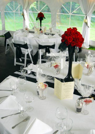 Table settings · red black and white wedding & red black and white wedding | Wedding ideas | Pinterest | Red black ...