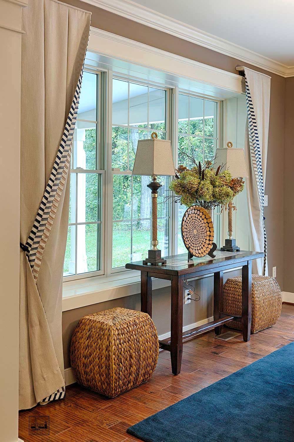 Baldwin home living room drapes pinterest living Window treatments for bay window in living room