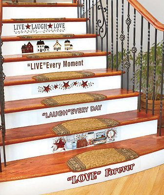 Country Home Stairs Decal Set Primitive Stars Berries Folk Art Wall Decor Stair Decals Stairs Wall Art Decor