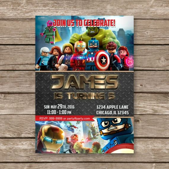 Lego Avengers Birthday Invitation By PartyGiraffe