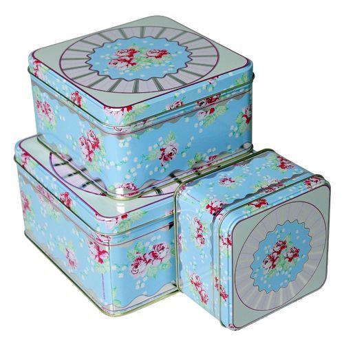 Maison Blue Square English Rose Biscuit Tin Set