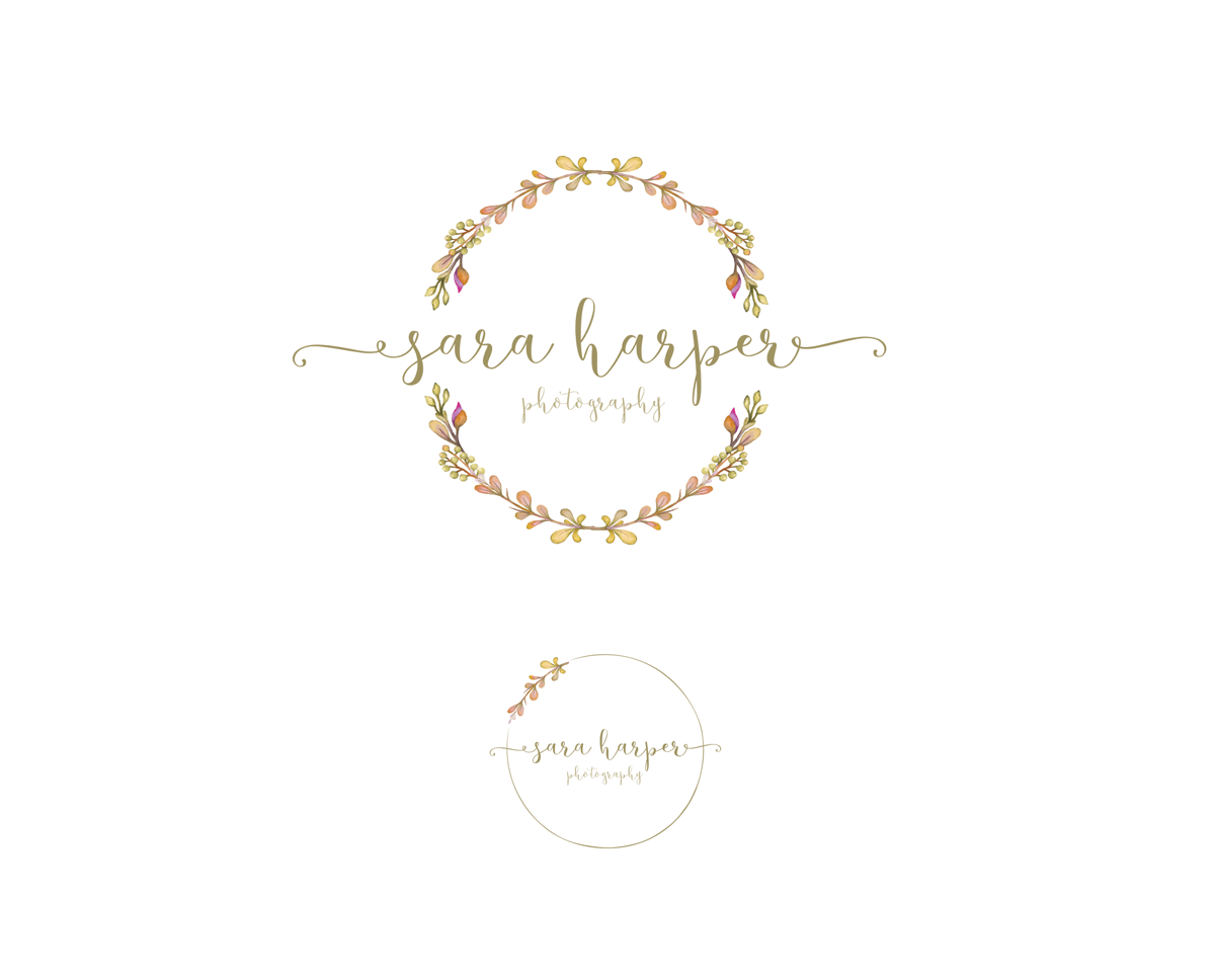 instant download rustic logo wreath logo photography logo round