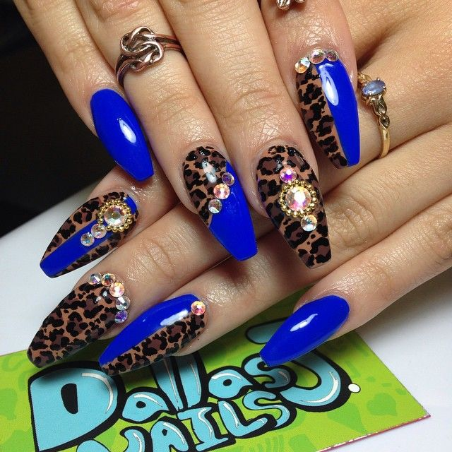 Dallasalexiaxo Single Photo Instagrin Nails Design With Rhinestones Blue Acrylic Nails Royal Blue Nails Designs