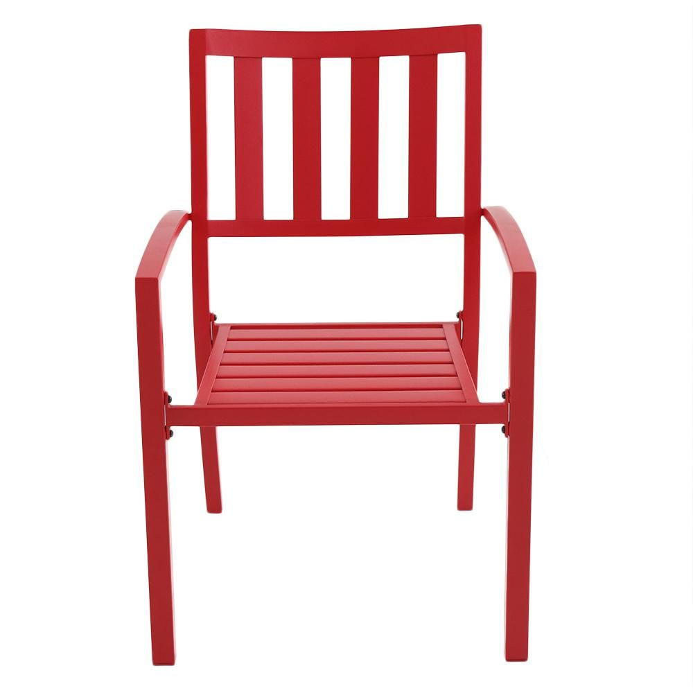 Hampton bay mix and match ruby metal slat outdoor dining chair