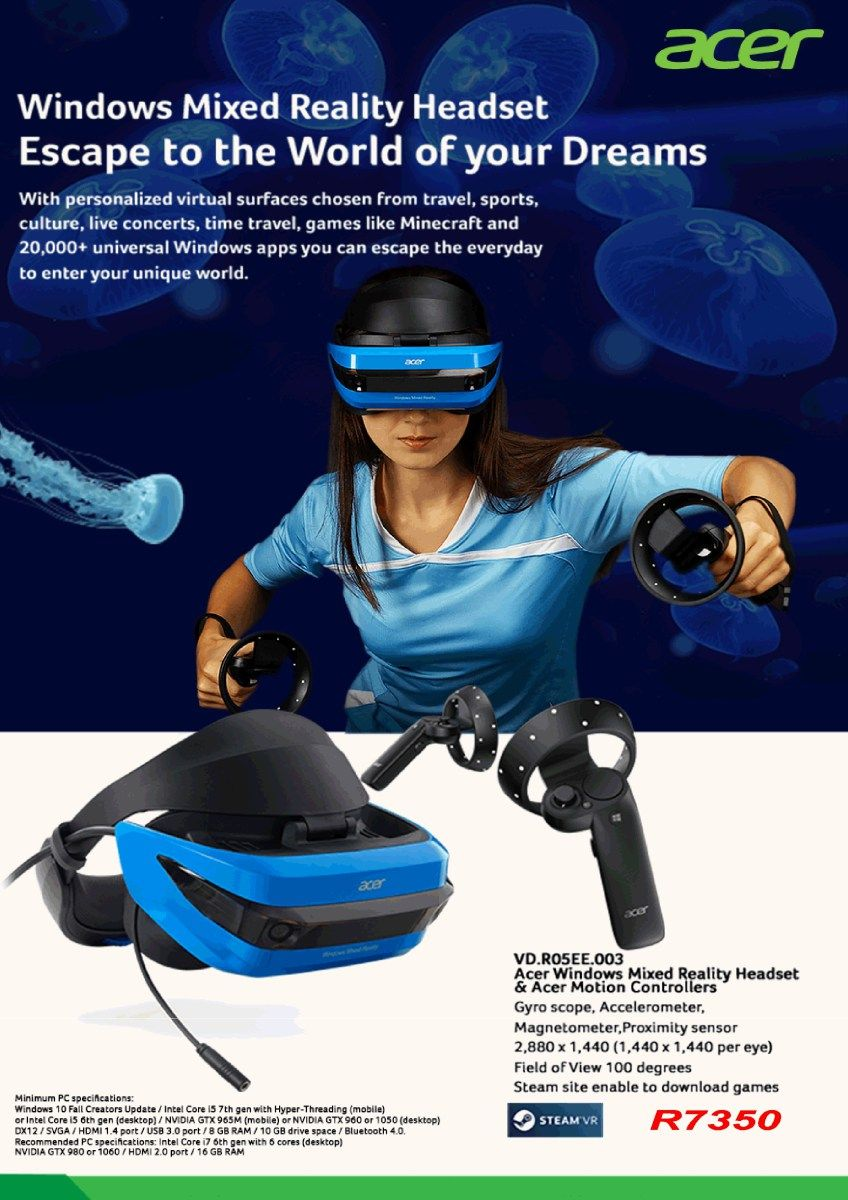 Acer Windows Mixed Reality Headset And Motion Controller Universal Windows Headset Reality