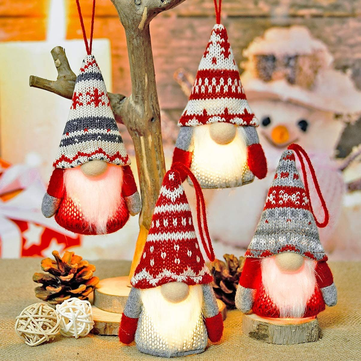 Handmade Gnome Christmas Ornaments Set Of 4 Christmas Ornament Sets Christmas Decorations Tree Christmas Decorationg
