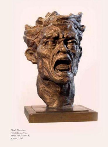 """Monument face"" sculpture by Edhi Sunarso, bronze, 48 cm x 28 cm x 29 cm, 1963"