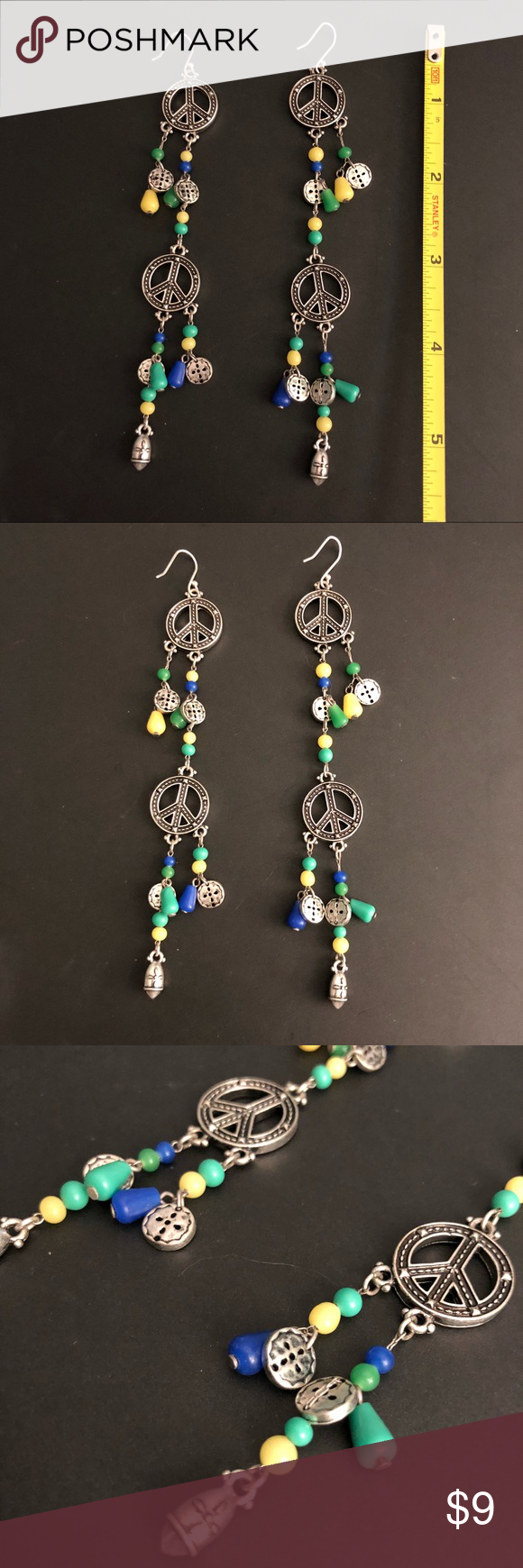 Download Lucky Brand funky peace sign earrings Gently used Lucky ...