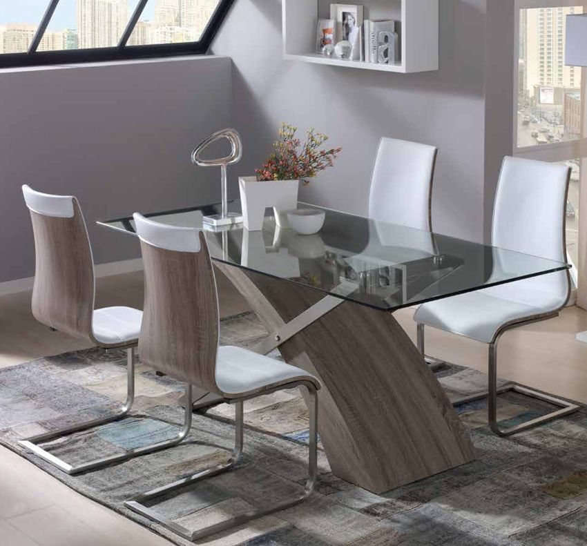 Mesa de comedor de comedor tapa de cristal Los mejores muebles