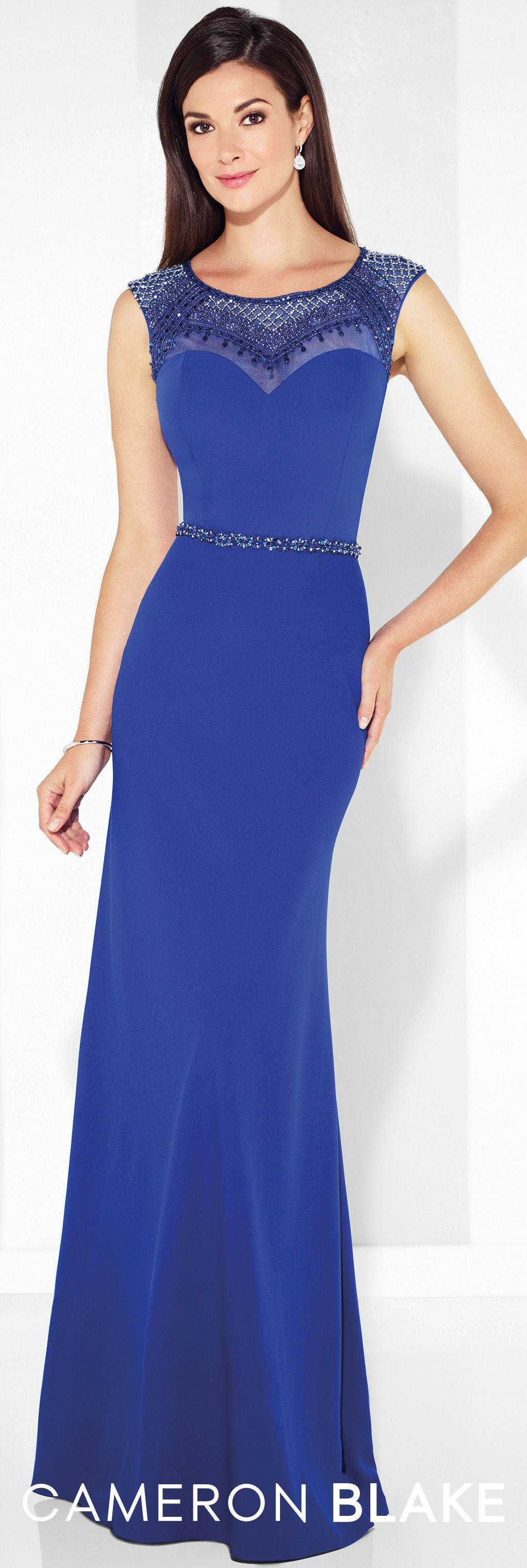 twill slim a-line gown with illusion cap sleeves - cameron blake