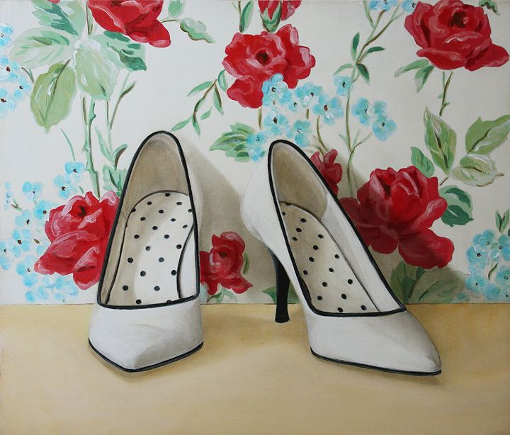 Pumps, 2014, Holly Farrell, acrylic & oil on masonite, 12 x14 inches.