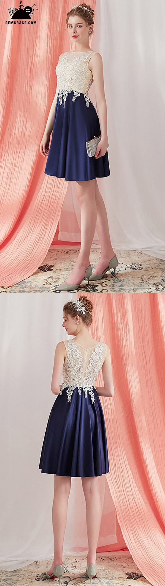 Elegant lace aline short homecoming party dress navy blue ama