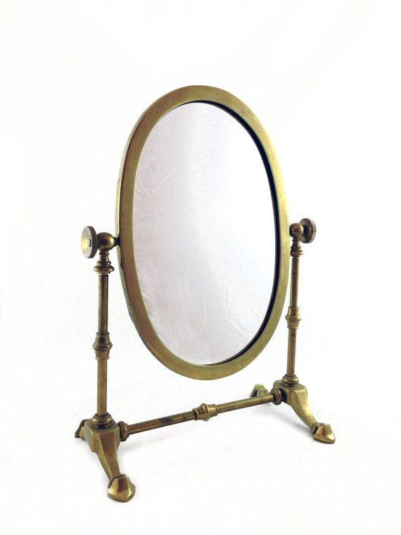Vintage Brass Shaving Mirror   Table Top Vanity Mirror   Mid Century  Antique Shaving Mirror #
