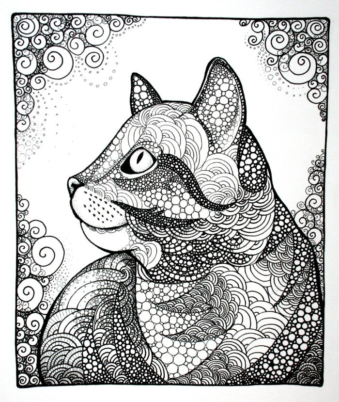 Cat Tabby Cat Kitten Zentangle Doodle Illustration Cat Drawing