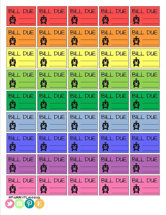 Printable Bill Due Stickers - Brights - Planner Stickers - Printable - Erin  Condren - MAMBI