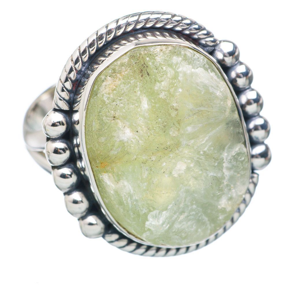 Rough Prehnite 925 Sterling Silver Ring Size 7 RING721610