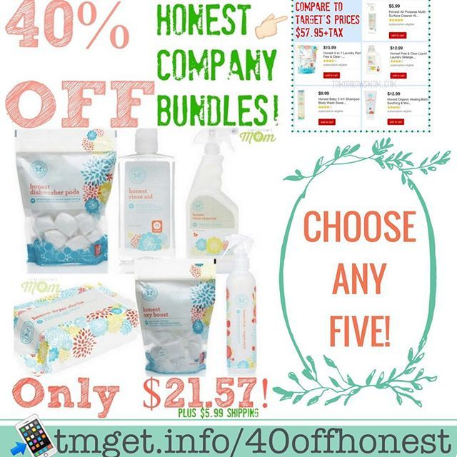 Honest Company Flash Sale now through tomorrow (08/27) you can score your self an amazing deal on Natural Products from Honest Company. Grab a bundle of any (5) Items of personal care home cleaning or Baby items Mix and Match you pick for little as $21.57 (Plus Shipping and Tax this varies per state). THIS RETAILS FOR OVER $57 at TARGET!!  Follow the easy instructions below: Easy links below  See full details & Fast links at: http://tmget.info/40offhonest  Or go Here follow the link in my…