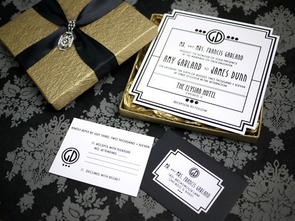 Art Deco Old Hollywood Glam Invitation Event Collateral