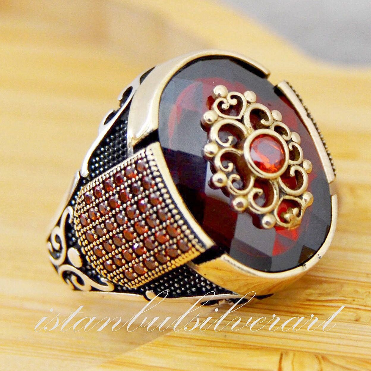 Mens Handmade Ring, Turkish Handmade Silver Men Ring, Ottoman Mens Ring, Ruby, cubic zircon stone, Gift for Him, 925k Sterling Silver Ring