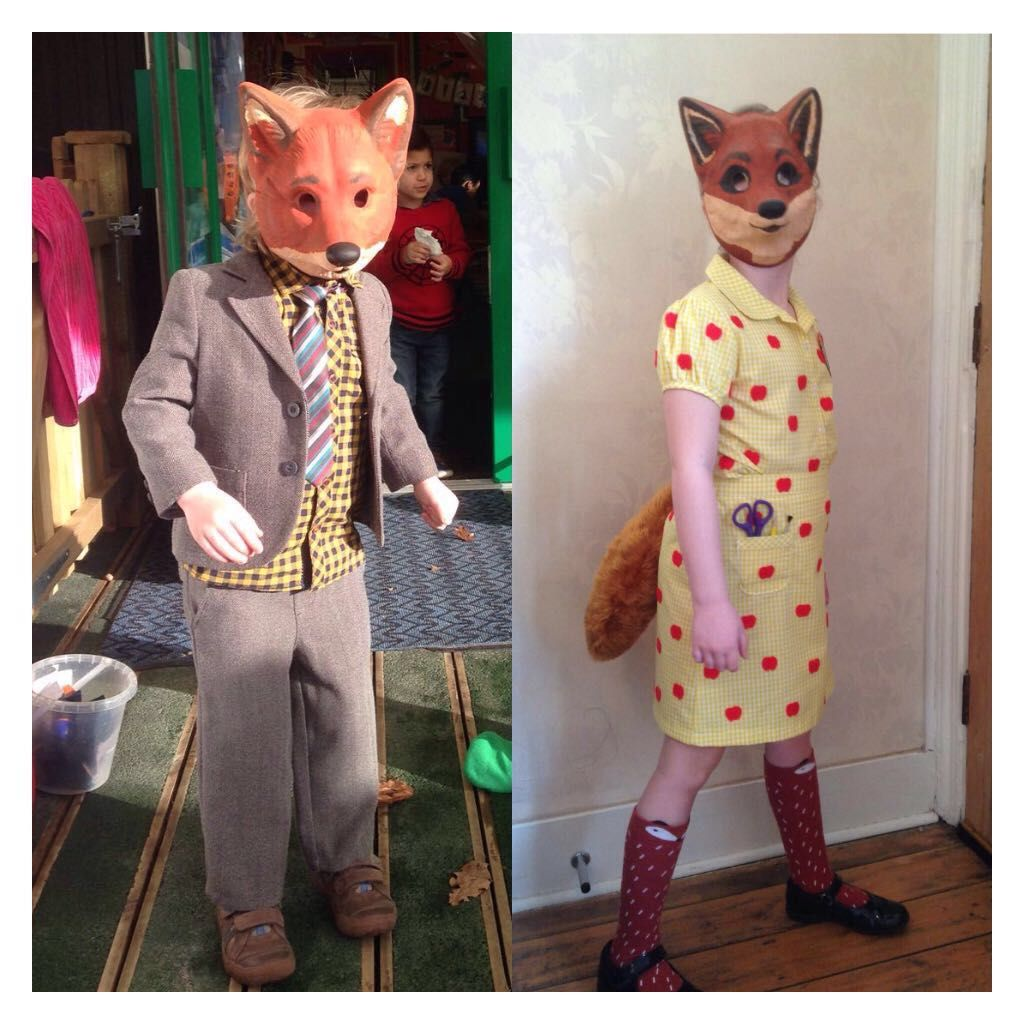 Mr And Mrs Fox Costumes World Book Day Roald Dahl Homemade Book Week Costume Fox Costume Roald Dahl Day